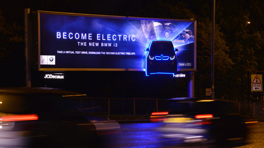 Glow-in-the-dark billboards shed light on new BMW